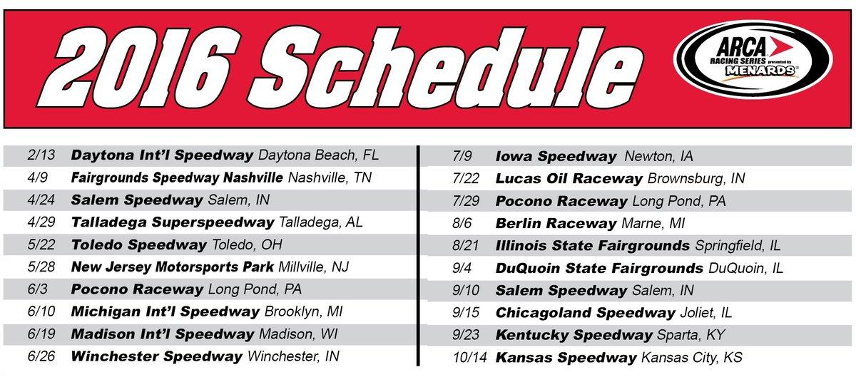 ARCA Racing Series sets 20 race 2016 schedule