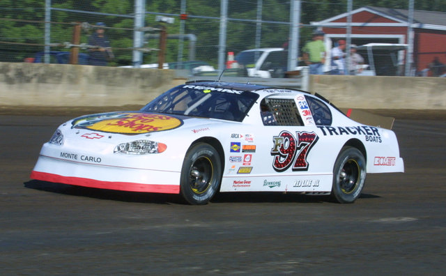 Red Farmer ARCA car shot at Springfield 2004