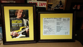 Adrian Belew Power Trio poster & setlist autographed by entire band.