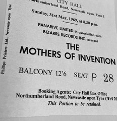 Zappa Mothers Invention 1969 Uk Tour Ticket Stub Repro Newcastle 31