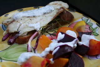 Talapia Roasted Beets Grilled Red Scallions