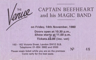 Captain Beefheart Ticket