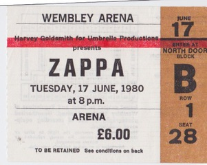Row 1 Zappa Ticket