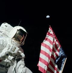 Astronaut Harrison 'Jack' Schmitt  American Flag  And Earth (Apollo 17 Eva 1)