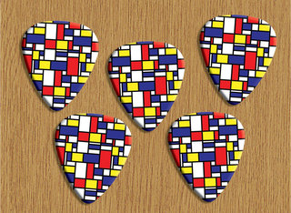 Rectangles Design 5 X Loose Premium Guitar Picks
