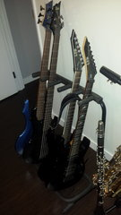 All the guitars sitting pretty