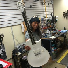 Ted Aguilar of Death Angel with his ESP custom shop eclipse