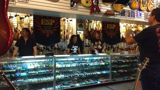 Frank, Ted and Gary at Motor City Guitars, Waterford Michigan