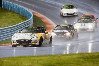 Rookie Mark Drennan Takes the Win in Wet and Wild Watkins Glen Mazda MX-5 Cup Race