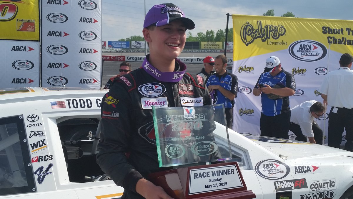 Gilliland becomes youngest ARCA winner in history in Menards 200 at Toledo